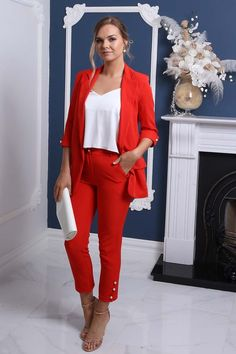 Love these cute red ankle pants! The fit is very flattering and comfortable. These trousers are easy to dress up for work or the office by adding a blazer. This gives it a more professional and classy look. Add these bottoms to your trend setting wardrobe. Get your Ankle Pearl Detail Pants from the Virgo Boutique Store! #trousers #fashion #inspiration #womensfashion #luxury Minimal Classic Style, Sophisticated Style, Blazer Fashion, Trousers Fashion, Suits For Women, Clothes For Women, Luxury Fashion, Womens Fashion, Fashion Glamour