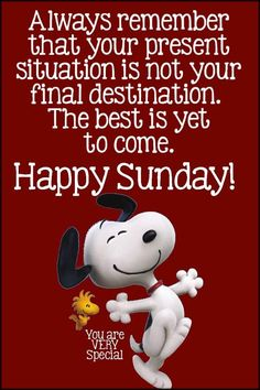 Always remember that your present situation is not your final destination. The best is yet to come. sunday sunday quotes happy sunday sunday images sunday sayings Good Morning Snoopy, Sunday Morning Quotes, Good Morning Happy Sunday, Sunday Quotes Funny, Funny Quotes, Blessed Sunday, Morning Messages, Happy Weekend Quotes, Sunday Love