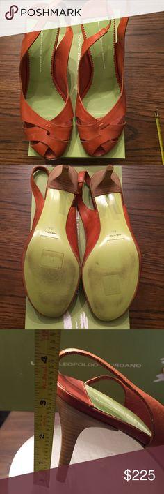 Leopoldo Giordano Orangey-Brown heels Barely used, great for spring/summer! Leopoldo Giordano Shoes Heels