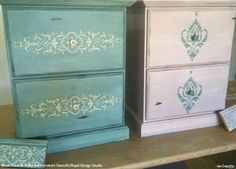 What lamp for my living room? Vintage Furniture, Painted Furniture, Furniture Stencil, Stencil Patterns, Stencil Designs, Stencil Dresser, Stencil Painting, Stenciling, Large Stencils