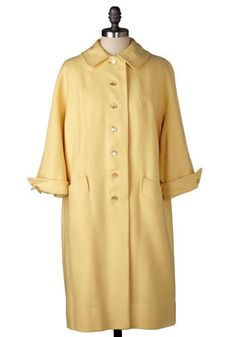 Vintage Buttercup Coat. Straight-cut coat, circa 1960s Size is not marked   This is a vintage One of a Kind item.  #modcloth
