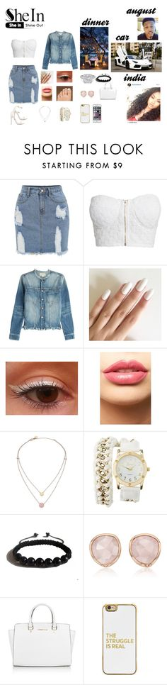 """""""date night"""" by onfleeklover21 on Polyvore featuring NLY Trend, Current/Elliott, LASplash, Michael Kors, Charlotte Russe, Shamballa Jewels, Monica Vinader, BaubleBar and Speck"""