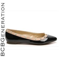 BCBGeneration Black Patent Studded Flats, Sz 8.5 Brand new in box. Gorgeous black patent leather flat with nude detail and studs. BCBGeneration Shoes Flats & Loafers