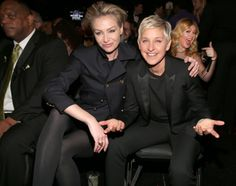Pin for Later: Ellen DeGeneres and Portia de Rossi Have the Look of Love Down Ellen and Portia cuddled (and got photobombed by Kelly Clarkson) at the 2013 Grammy Awards in February Portia De Rossi, Celebrity List, Celebrity Gossip, Ellen Degeneres And Wife, Sean Parker, Grammy Fashion, Funny Stories To Tell, Ellen And Portia, Kelly Clarkson