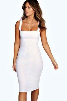 fc8995366953 Jen Square Neck Bodycon Midi Dress Vestidos Colado