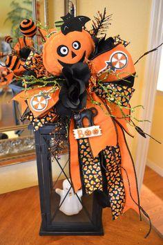 Pumpkin Head Halloween Lantern Swag by kristenscreations