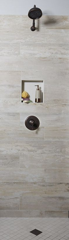 Is that wood in your shower?? It's our Club Series #porcelain tile! Visit an Arizona Tile showroom to see all 4 colors and marvel at how real it looks. https://arizonatile.com/en/products/porcelain-and-ceramic/club