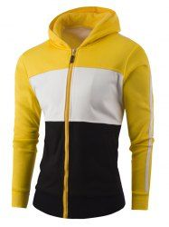 Striped Zipper-Up Color Block Hoodie (YELLOW,M) | Sammydress.com Mobile