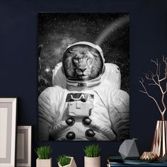 Metal Poster Lion On Space Poster Bw