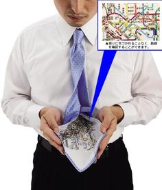 Cheat Sheets | Tokyo Metro Map Printed on the Back of Neckties. Manyfactured by ARA.