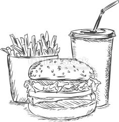 take away food sketches black and white   Vector Sketch Illustration Fast Food French Fries Soda Burger Vector ...