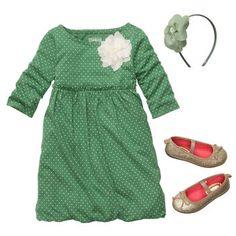 Darling green dotted bubble dress with sparkle ballet flats and flower headband. #oshkoshbgosh
