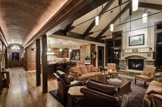 rustic living room with vaulted ceiling