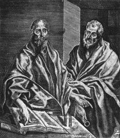 Sts Peter and Paul 1608 Engraving, 282 x 247 mm Biblioteca Nacional, Madrid  ASTOR, Diego deSpanish/Flemish engraver (b. ca. 1587, Mechelen, d. ca. 1650, Madrid)