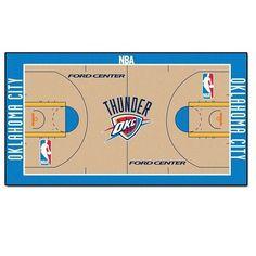 "Oklahoma City Thunder  Large Basketball Court Runner Area Rug Mat 30"" X 54""  #ThunderUp #OKC #NBA #JockUniversity"
