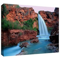 """ArtWall 'Havasu Falls Dusk' by Dean Uhlinger Photographic Print on Wrapped Canvas Size: 18"""" H x 24"""" W"""