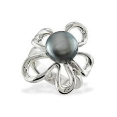 Sterling Silver Floating Plumeria Ring with Tahitian Pearl - Puka Bead Collection - Collections