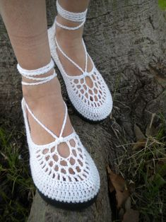 The Clouds - White Crochet Shoes with Grey Template | Flickr - Photo Sharing!
