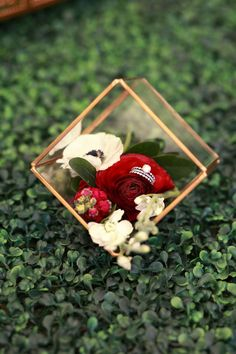 Glass ring box, red roses, diamond ring // Jessica Lee Photographic Art