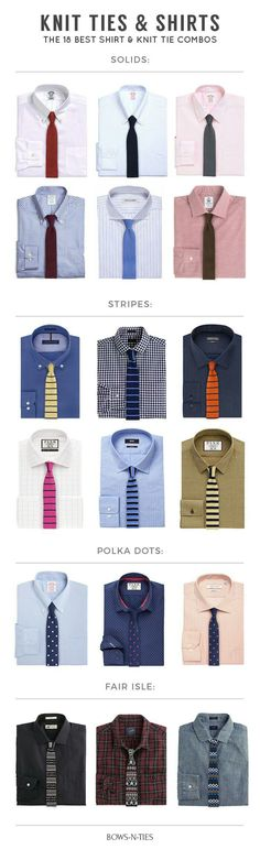 Even though they have become hugely popular, we see them all too often mismatched and worn with too much disconnect. To finally put an end to all those knit tie faux pas, this guide will show you how to rock your knit ties. Shown above are 18 knit tie and shirt combo's you can work with.