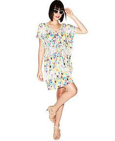 Fashion Star Dress At Macy's   Fashion Star Dress, Short-Sleeve Printed Tie-Front Caftan - Dresses ...