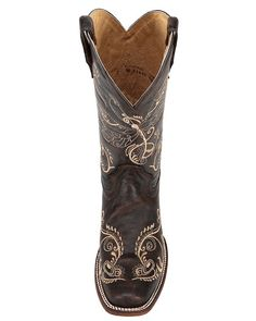 Womens Embroidered Cowhide Square Toe Boot - Antique Brass,