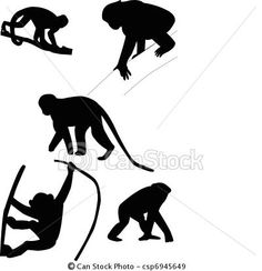 Vector - Monkeys silhouettes - stock illustration, royalty free illustrations, stock clip art icon, stock clipart icons, logo, line art, EPS picture, pictures, graphic, graphics, drawing, drawings, vector image, artwork, EPS vector art