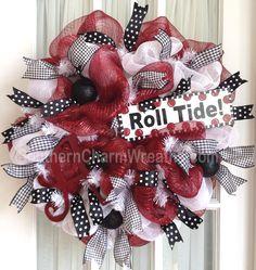 Custom order #Alabama deco mesh #wreath #collegiate decor by www.southerncharmwreaths.com - Beautiful Wreath for Alabama Fans!