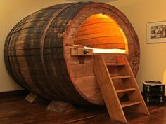 Stay in a historic beer barrel! ***THE BARREL*** The beer room arose in cooperation with our regional brewery - Potts. The barrel is from the Century and was in use until about One barrel can be rented as a double bed or a single bed. Casa Clean, Cool Beds, Man Cave, Sweet Home, House Design, Interior Design, Design Art, Interior Decorating, Decorating Ideas