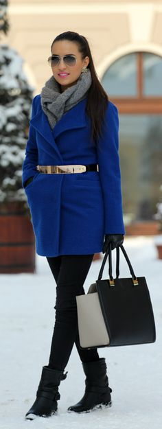 Love this outfit Style outfit clothing women apparel fashion blue jacket coat handbag winter boots