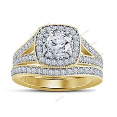 2.34 Carat Round Simulated Diamond 925 Silver Bridal Ring Set With Prong Setting #aonedesigns