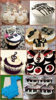 Music Note Themed Birthday Cupcake Ideas from HotRef.com