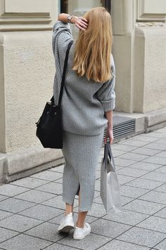 Knit Co-ord   Fifty Pairs Of Shoes  #knitted #grey #coords #cosstores Cos Stores, Co Ords Outfits, Victoria Beckham Style, Street Outfit, Fashion Outfits, Womens Fashion, Instagram Fashion, Skirt Set, Normcore