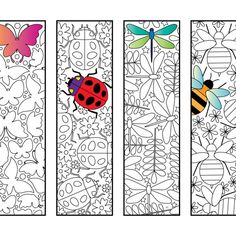 Bookmarks – Page 4 – Scribble & Stitch - Insect Bookmarks – PDF Zentangle Coloring Page Colouring Pages, Coloring Sheets, Adult Coloring, Zentangle, Diy Bookmarks, Bookmarks To Color, Art Plastique, Printable Coloring, Scribble