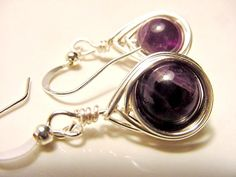 Amethyst Wire Wrapped Dangle Earrings, Silver Wire, Unique Design, Handcrafted by Cheryls Healing Gems. Free US Shipping ~ Gift Idea!