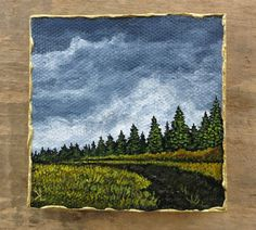 Miniature Pine Forest Landscape Painting