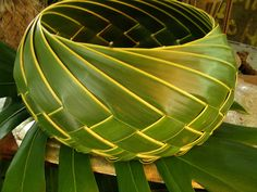 Palm weaving basket... how beautiful is this! i need to learn how!