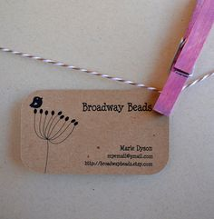 100% Recycled Kraft Brown Business cards with bird!
