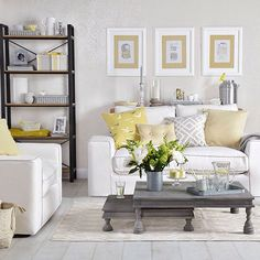 Grey and white living room with yellow touches
