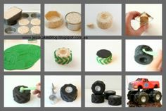 Monster Truck Tyres and Monster Truck by Jessicakes - The Cake Directory - Tutorials Torta Blaze, Blaze Cakes, Monster Jam, Monster Trucks, Fondant Cake Tutorial, Cupcake Cakes, Cupcakes, Truck Cakes, Rice Crispy Treats