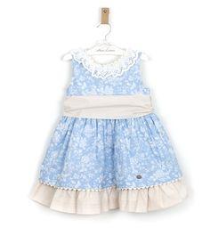 -NUEVO- Vestido niña tonos azules lazada beige de Dolce Petit | Aiana Larocca