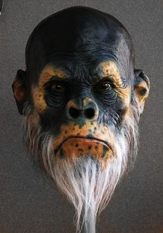 Ape's Head finished Picture  (sculpture, creature, head, monkey)