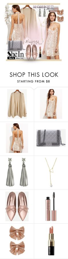 """""""SheIn - Apricot Velvet Dress Styling"""" by giovanina-001 ❤ liked on Polyvore featuring Monsoon and Bobbi Brown Cosmetics"""