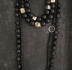 Handmade statement bold chunky beaded necklaces Chunky horn beads with my favorite pyrite combination.