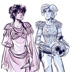 I'm fond of the armor I drew on the ladies on my zine piece, so I need to find more excuses to draw them in it. Here's the two resident female camp leader babes. They are an interesting exercise in...