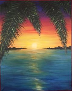 Beach sunset painting