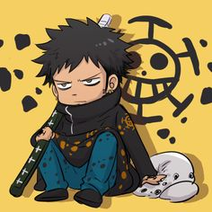 Chibi Trafalgar D. Water Law One piece art yellow