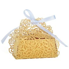 $15.19 | 50Pcs Gold Laser Cut Candy Boxes With Gold Ribbon Wedding Party Favor Creative Favor Bags Bride and Groom Show Candy Box