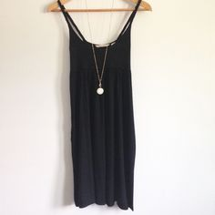 Black Babydoll Braided Strap Sundress Super comfy, relaxed fit simple black dress by Derek Heart. Soft jersey-knit with flattering empire waist. Braided straps. Gently worn. 95% Rayon / 5% Spandex. Size small. Necklace not included! Derek Heart Dresses