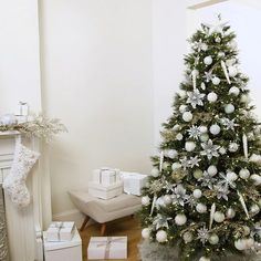 Winter White Christmas   Martha Stewart Living — Keep it cool this season with shimmery snowflakes, icicles, and a flocked tree.